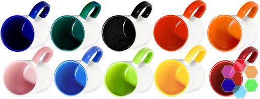Кружка цветная внутри и с цветной ручкой