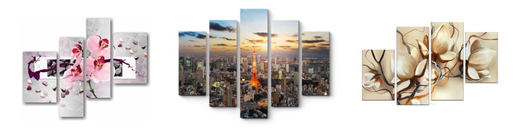 Модульные картины на холсте размером 65х100 см